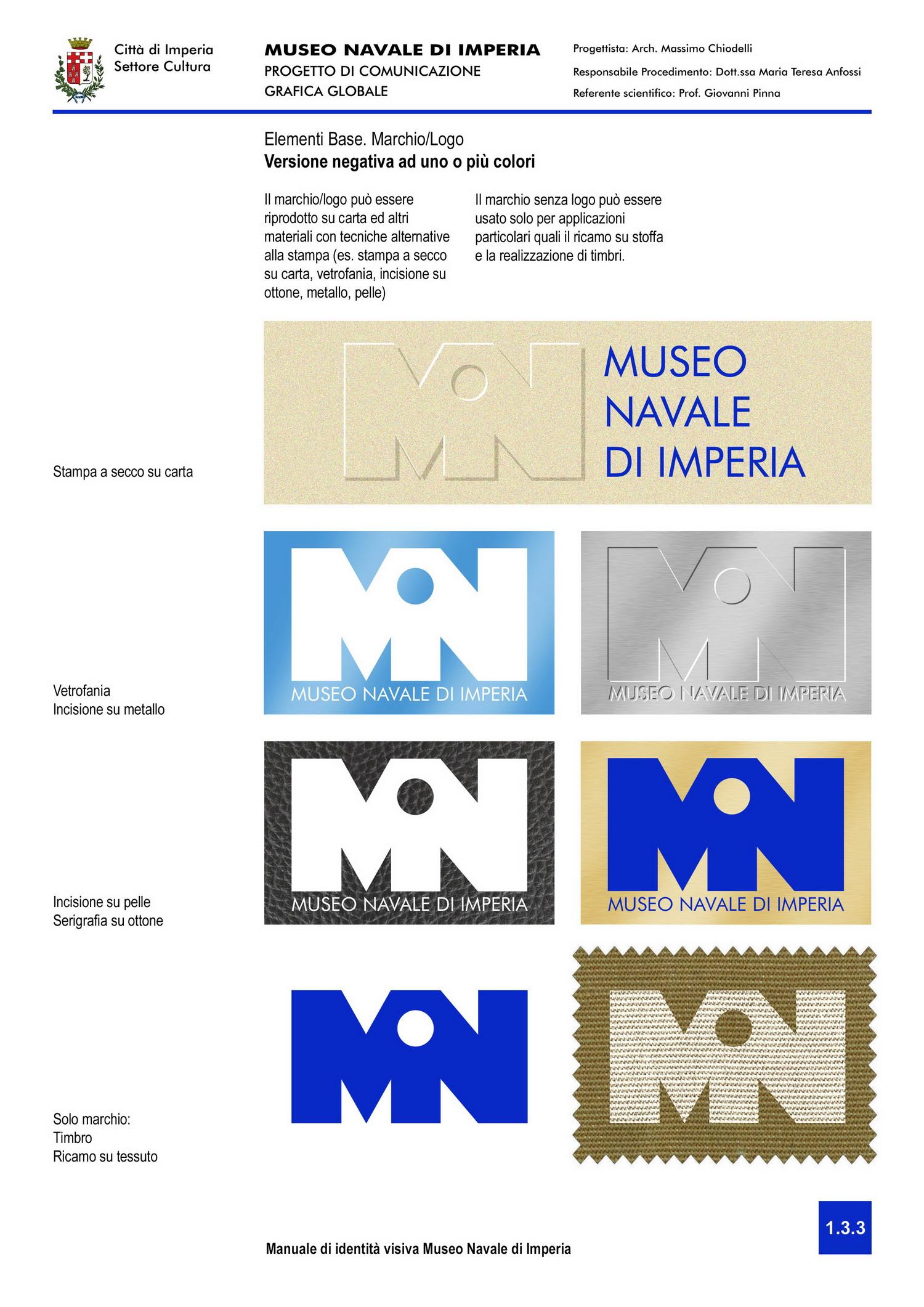 Museo Navale di Imperia - applicazioni del marchio